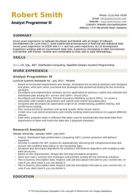 Programmer Analyst Resume Summary by Analyst Programmer Resume Sles Qwikresume