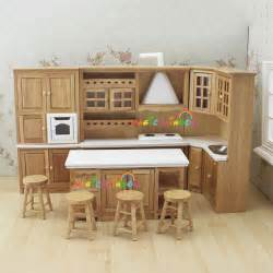 kitchen dollhouse furniture doll house kitchen furniture wooden toys cabinet range sink chiars set 1 12 scale dollhouse