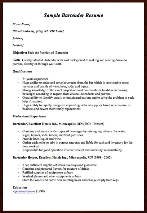 Another Name For Bartender On Resume by Here Comes Another Free Sle Bartender Resume Exle