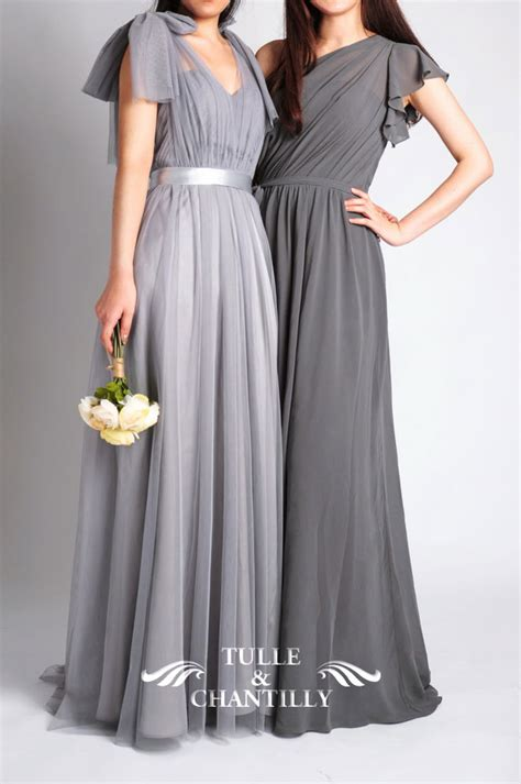 light grey bridesmaid dresses long grey bridesmaid dresses tulle chantilly wedding blog