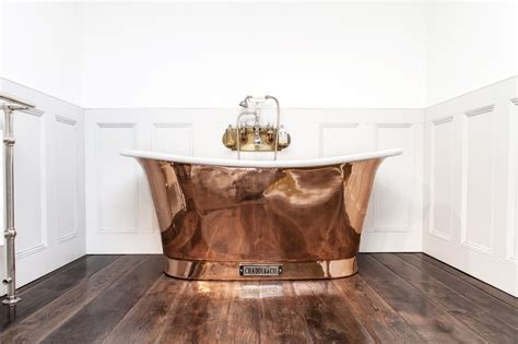 glass shower screen royal copper bath with white interior chadder co
