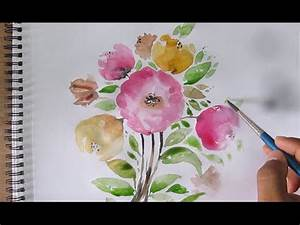 Simple flower painting, watercolor painting for beginners ...