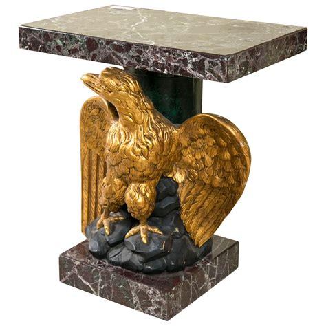 giltwood carved eagle marble top pedestal table  sale