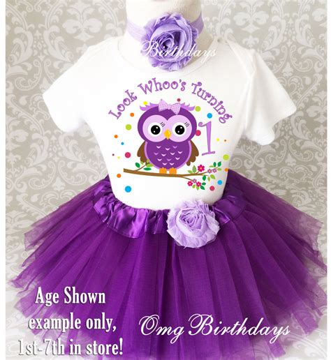Purple Owl Look Whou0026#39;s Baby Girl 1st First Birthday Tutu Outfit Shirt Set Party | eBay