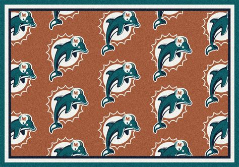 miami dolphins rug 5x8 milliken miami dolphins 9050 sports nfl repeat area