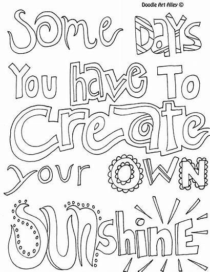 Sunshine Own Create Coloring Pages Positive Quotes