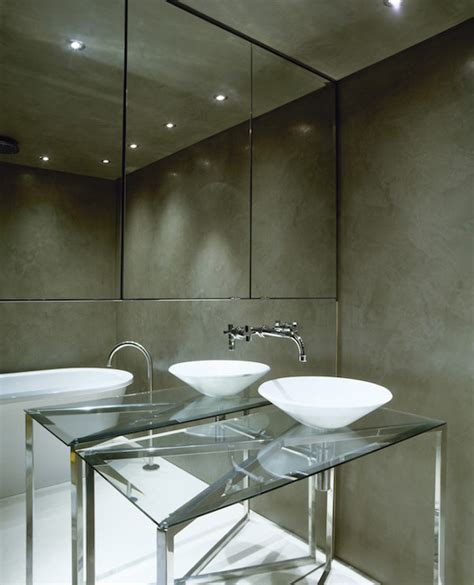Mirrored Wall Bathroom by Grey Bathroom Accent Wall Design Ideas