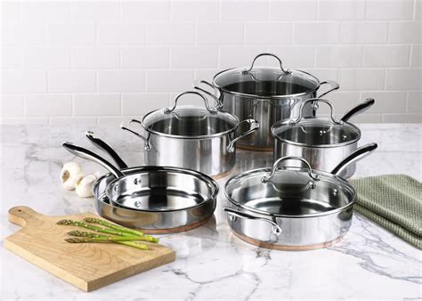 kenmore  pc stainless steel  copper band cookware set