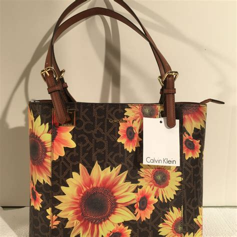 calvin klein bags sunflower tote shopper nwt poshmark