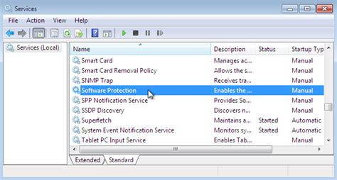 For Service by Start Stop Software Protection Service In Windows 7 From
