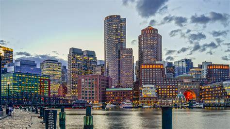 boston skyline finance business boston harbor