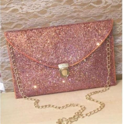 sparkly metallic rose gold glitter clutch purse pink gold handbag glitter shoe