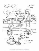 Coloring Pool Summer Swimming Sheets Printable Drawing Fun Party Allkidsnetwork Season Sheet Children Easy Books Spring Disimpan Dari članku Zdroj sketch template
