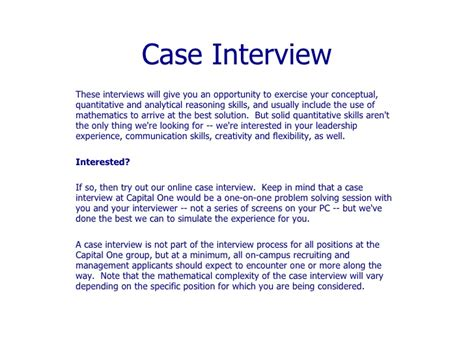 interview case case interview these interviews will give you an