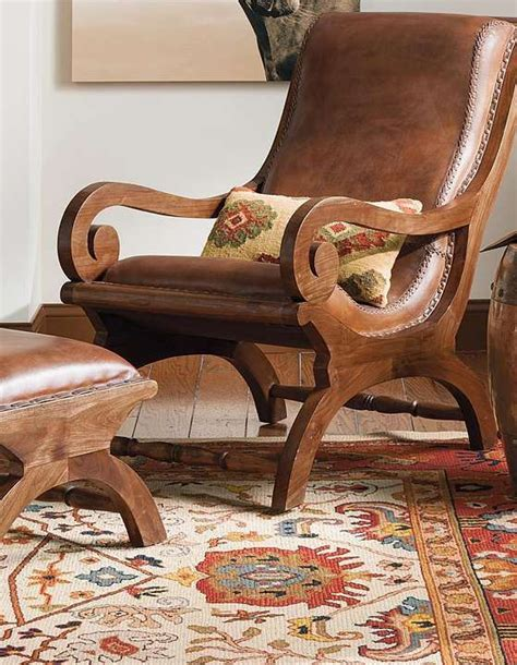 Wood And Leather Chair With Ottoman by Augusto Chair And Ottoman Chairs With Character