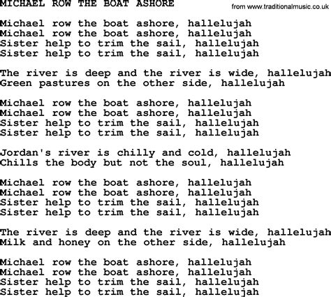 What Is The Song Michael Row The Boat Ashore About by Michael Row The Boat Ashore By The Byrds Lyrics With Pdf