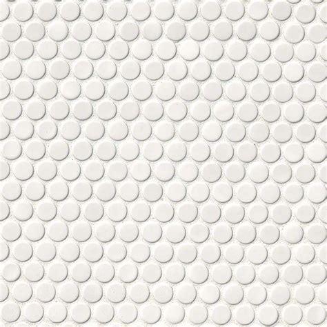 white glossy penny  backsplash tile white tile