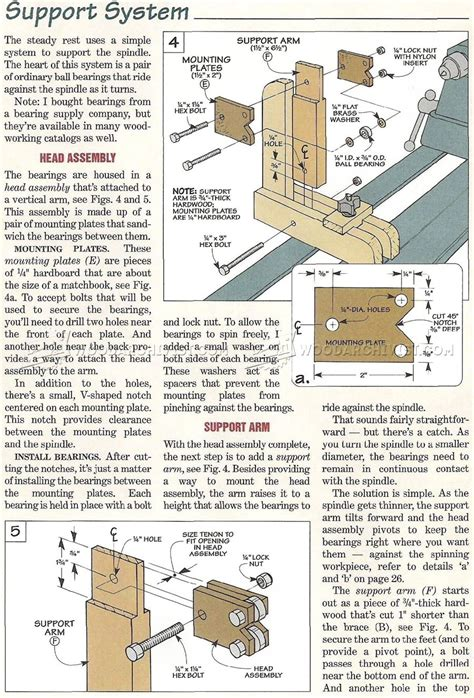 wood lathe steady rest plans woodarchivist