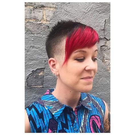 This cut is one where all of the hair on the sides and back of the head is clippered close to the scalp while the bang or fringe section is left in it's normal style. Pin on Chelsea, Skingirl & Skinbyrd Haircuts 06