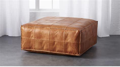 Pouf Ottoman by Leather Ottoman Pouf Cb2