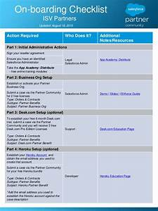 onboarding checklist for isvforce and oem partners With onboarding document for project