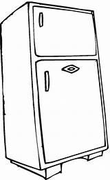 Coloring Refrigerator Fridge Electronics Household Pages Kindergarten Worksheets sketch template