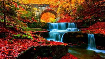 Waterfall Autumn Nature Wallpapers Water Forest 4k