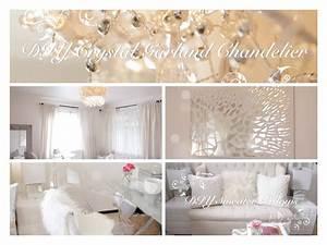 Diy room decor ideas crystal garland chandelier mirror