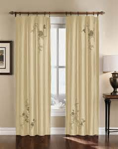 floral embroidered faux silk curtain panel 63 95 inch ebay