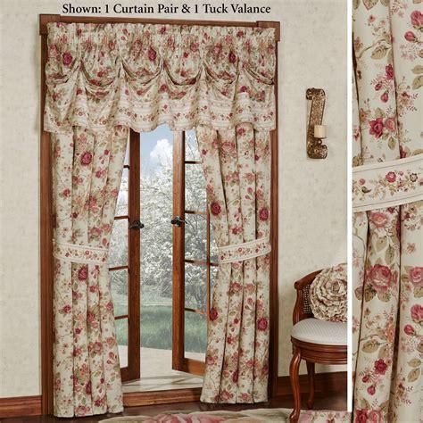 heirloom rose floral window treatment