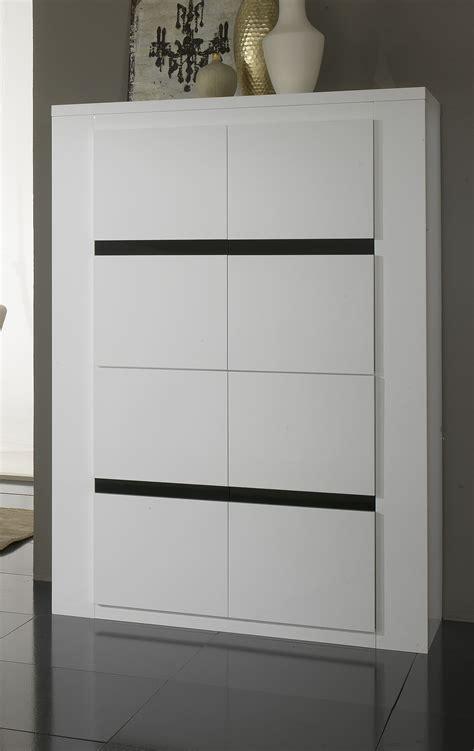 secretaire moderne bureau vaisselier argentier portes pleines laqué blanc et noir