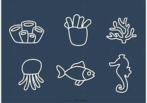 Outline Coral Reef And Fish Vectors - Download Free Vector ...