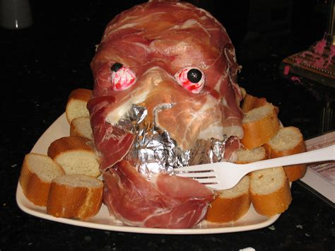 spooky food fun halloween party food prosciutto ham head pillsbury spooky finger breadsticks
