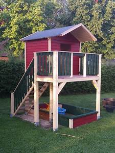 spielturm mit treppe bauanleitung zum selber bauen With französischer balkon mit spielhaus garten holz selber bauen
