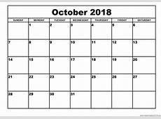 October 2018 Printable Calendar printable yearly calendar