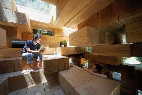 primitive curtains for living sou fujimoto 39 s wooden house is simultaneously