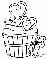 Cupcake Outline Clip Cupcakes Clipart Clipartion Heart sketch template