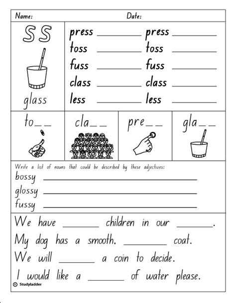 "Double Consonants ""ss"", English Skills Online, Interactive Activity Lessons"