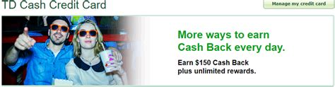 Enjoy 0% intro apr for 15 months on purchases and qualifying balance transfers. TD Cash Credit Card $150 Cash Back Bonus + 3% Cash Back on Dining Purchases + No Annual Fee