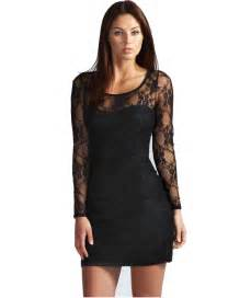 black long sleeve lace bodycon dress n6922