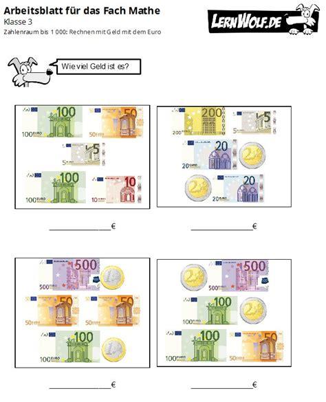Die geldschöpfung ist die schaffung neuen geldes. Matheaufgaben Klasse 3 Geld Zum Ausdrucken