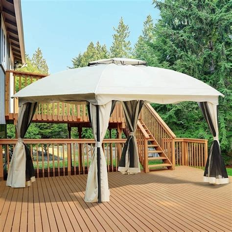 shop outsunny     tiered soft top patio gazebo  mosquito netting  privacy