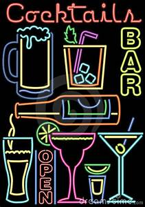 Neon Cocktails Bar Symbols ai Royalty Free Stock