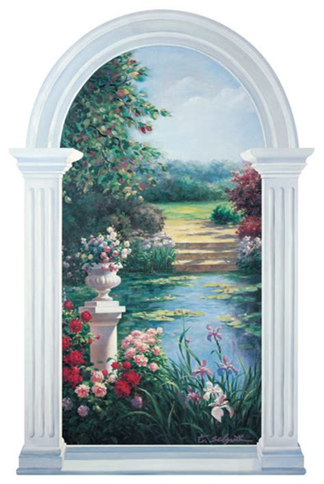 sticker trompe l oeil mural monet inspired trompe l oeil garden window mural traditional wall decals by trisha
