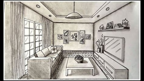drawing  living room   point perspective drawing