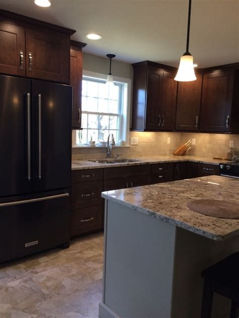 waypoint cabinets  maple truffle  contrasting island