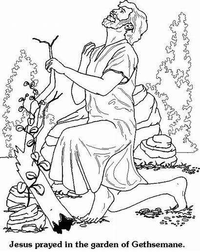 Coloring Gethsemane Garden Pages Praying Easter Christian