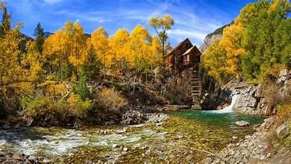 Colorado Fall River Landscape Mountain Nature Forest