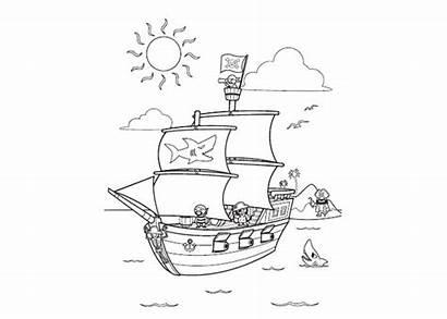 Pirate Ship Coloring Cartoon Printable Pirates