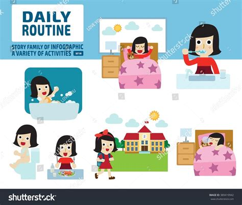 daily routine childhood infographic element health care